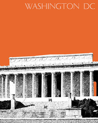 Washington Dc Skyline Lincoln Memorial - Coral Poster by DB Artist