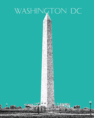 Washington Dc Skyline Washington Monument - Teal Poster by DB Artist