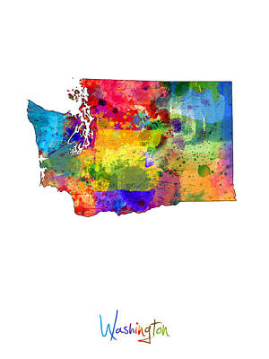 Washington Map Poster by Michael Tompsett