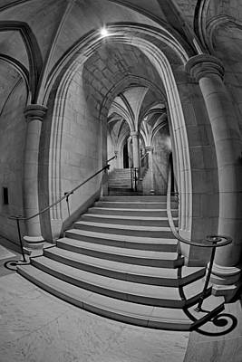 Washington National Cathedral Crypt Level Stairs Bw Poster