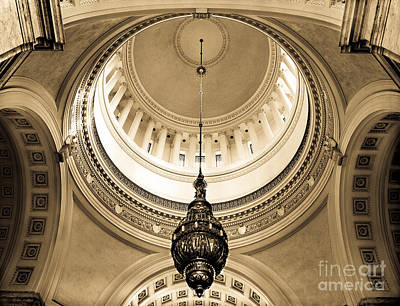 Washington State Capitol Building Rotunda Sepia Poster