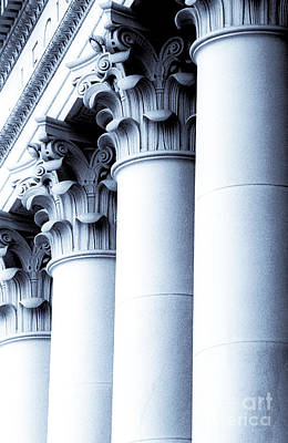 Washington State Capitol Columns In Blue Poster