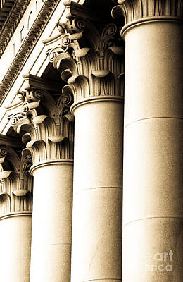 Washington State Capitol Columns In Sepia Poster