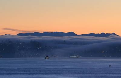 Washington State Ferries At Dawn Poster