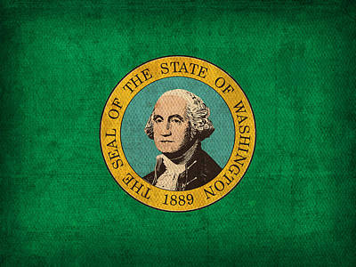 Washington State Flag Art On Worn Canvas Poster by Design Turnpike