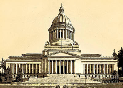 Washingtons State Capitol Building Sketch In Sepia Poster