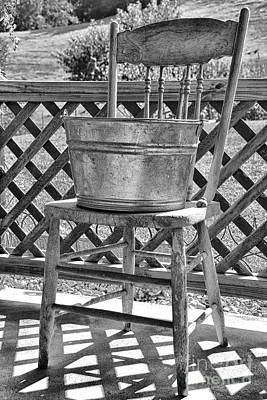 Washtub On Antique Chair Poster