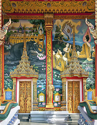 Poster featuring the photograph Wat Choeng Thale Ordination Hall Facade Dthp143 by Gerry Gantt