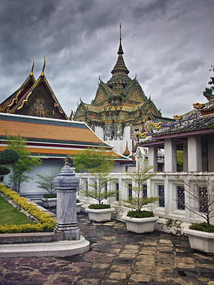 Wat Pho Temple Gardens Poster by Kim Andelkovic