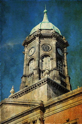 Watch Tower Of Dublin Castle. Streets Of Dublin. Painting Collection Poster by Jenny Rainbow