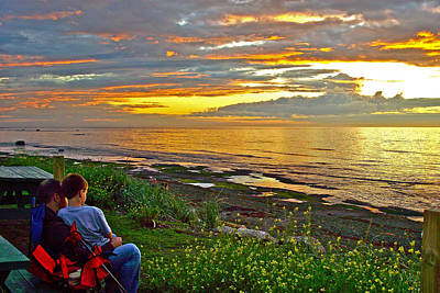Watching Sunset Over Saint Lawrence Estuary Coast In Sainte-flav Poster by Ruth Hager