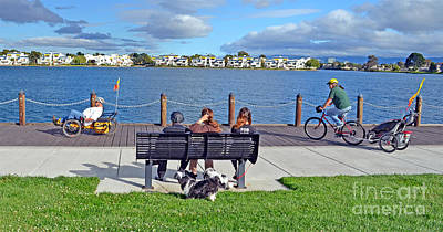 Watching The Bikes Go By At Congressman Leo Ryan's Memorial Park Poster by Jim Fitzpatrick
