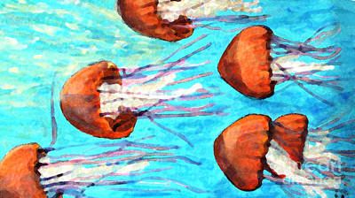 Watching The Orange Jelly Fish Poster by Rita Brown
