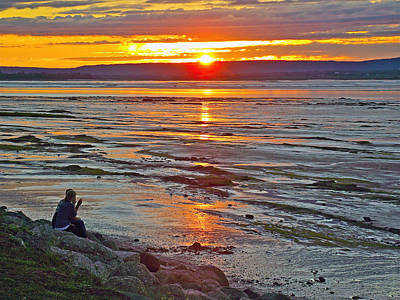 Watching The Sunset Over Minas Basin In Fundy Bay Near Grand Poster by Ruth Hager