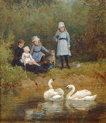 Watching The Swans Oil On Canvas Poster by Heywood Hardy