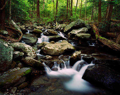 Water Cascading Over Rocks, Leconte Poster by Panoramic Images