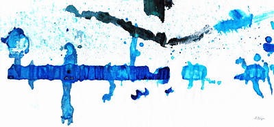 Water Dance - Blue And White Art By Sharon Cummings Poster