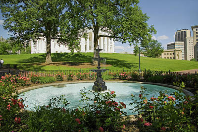 Water Fountain And Virginia State Poster