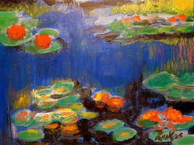 Poster featuring the mixed media Water Lilies  After Monet by Diana Riukas