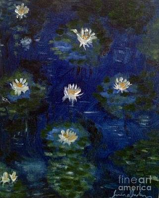 Poster featuring the painting Water Lilies by Brindha Naveen