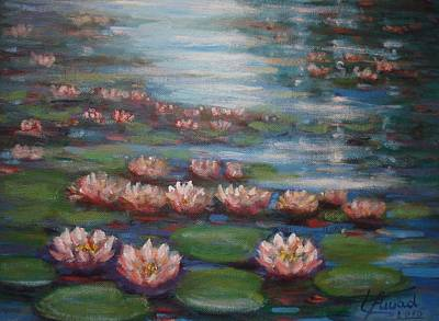 Poster featuring the painting Water Lilies In Monet Garden by Laila Awad Jamaleldin