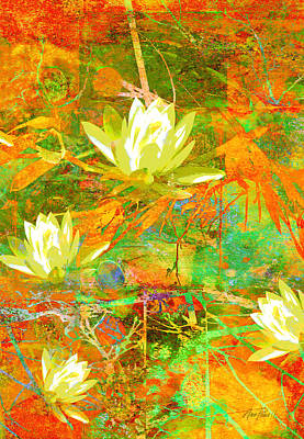 Water Lily Collage Abstract Flowers  Nature Art  Poster by Ann Powell