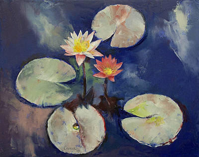 Water Lily Painting Poster by Michael Creese
