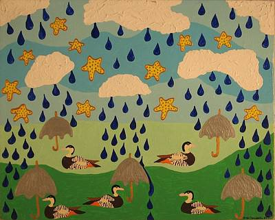 Poster featuring the painting Water Off A Duck's Umbrella by Erika Chamberlin