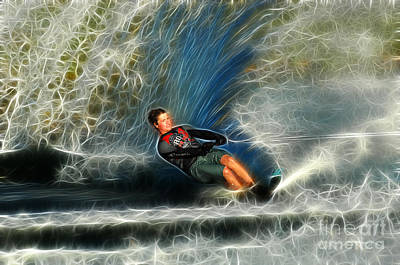 Water Skiing Magical Waters 3 Poster by Bob Christopher