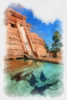 Water Slide At The Mayan Temple Atlantis Resort Poster by Amy Cicconi