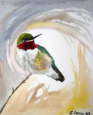 Watercolor - Broad-tailed Hummingbird Poster