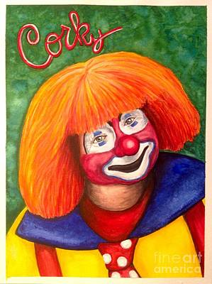 Watercolor Clown #18 Corky Dozier Poster by Patty Vicknair