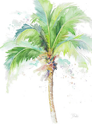Watercolor Coconut Palm Poster by Patricia Pinto
