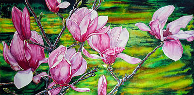 Watercolor Exercise Magnolias Poster
