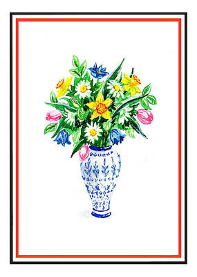 Watercolor Flowers Bouquet In Chinese Antique Vase Poster by Irina Sztukowski