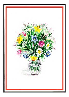 Watercolor Flowers Bouquet In The Glass Vase Poster by Irina Sztukowski