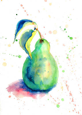 Watercolor Illustration Of Pear  Poster