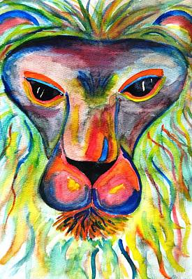 Watercolor Lion Poster by Angela Murray