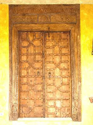 watercolor of antique Moroccan style wooden door on yellow wall Poster by Ammar Mas-oo-di