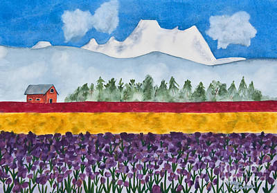 Watercolor Painting Landscape Of Skagit Valley Tulip Fields Art Poster