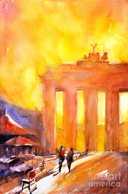 Watercolor Painting Of Brandenburg Gate Berlin Germany Poster by Ryan Fox
