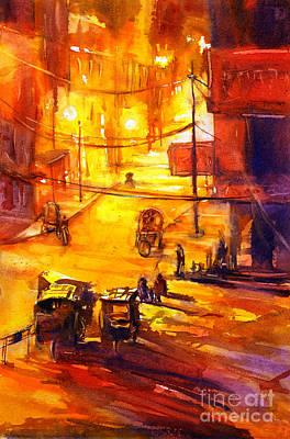 Watercolor Painting Of Kathmandu Street- Nepal Poster by Ryan Fox