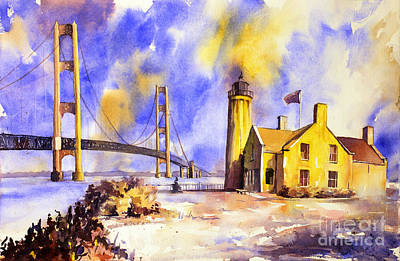 Watercolor Painting Of Ligthouse On Mackinaw Island- Michigan Poster
