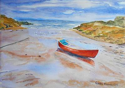 Watercolor Painting Of Red Boat Poster by Geeta Biswas