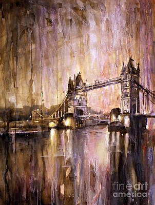 Watercolor Painting Of Tower Bridge London England Poster