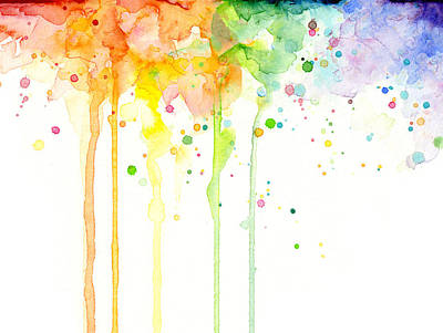 Watercolor Rainbow Poster by Olga Shvartsur