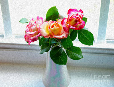 Watercolor Roses Poster by Candy Frangella