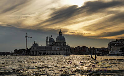 Poster featuring the photograph Watercolor Sky Over Venice Italy by Georgia Mizuleva