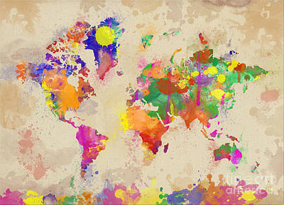 Watercolor World Map On Old Canvas Poster by Zaira Dzhaubaeva