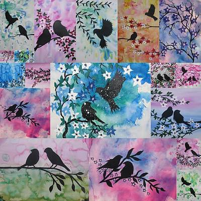 Watercolour Birds Poster by Cathy Jacobs